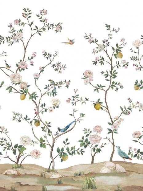 Morris Flower Wallpaper in Charcoal BM60100 from Wallquest